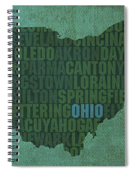 Ohio State Word Art On Canvas Spiral Notebook by Design Turnpike