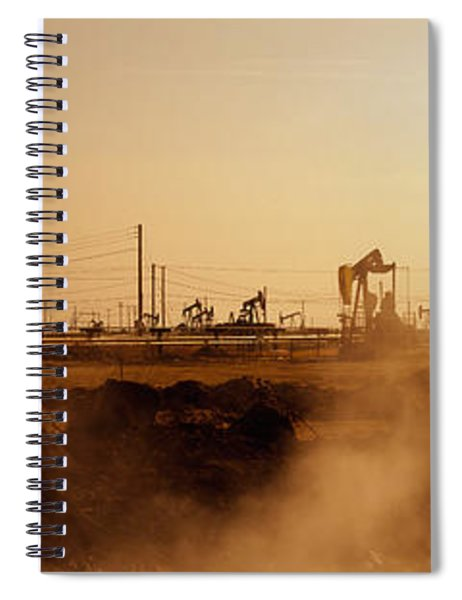 Oil Drills In A Field, Maricopa, Kern Spiral Notebook