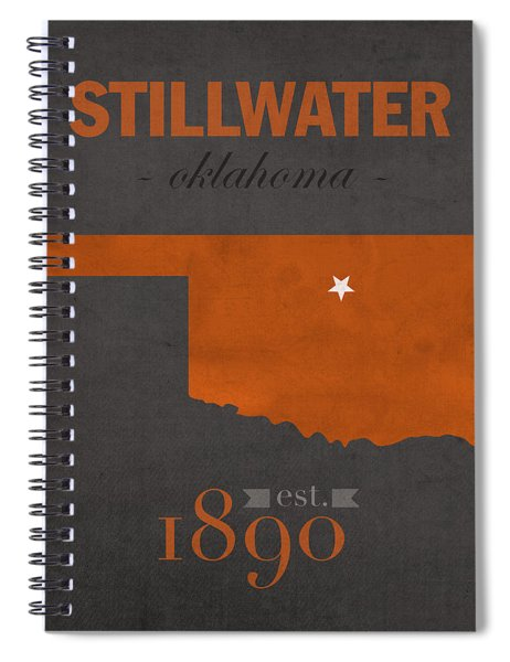 Oklahoma State University Cowboys Stillwater College Town State Map Poster Series No 084 Spiral Notebook