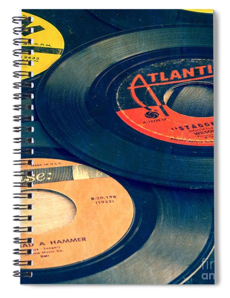 Old 45 Records Square Format Spiral Notebook