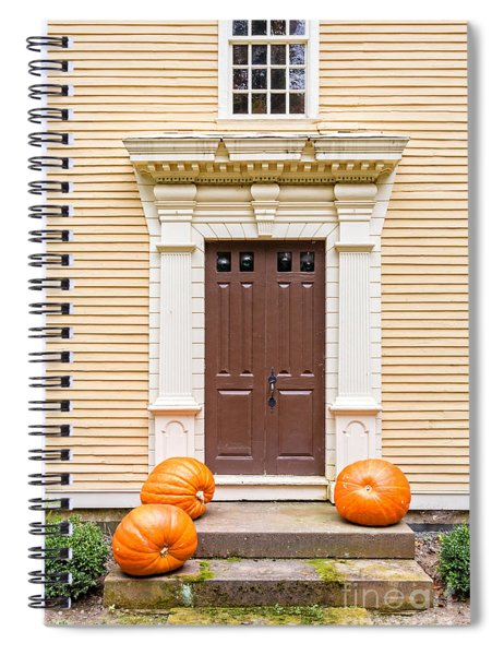 Old Colonial Era Front Door With Pumpkins Spiral Notebook