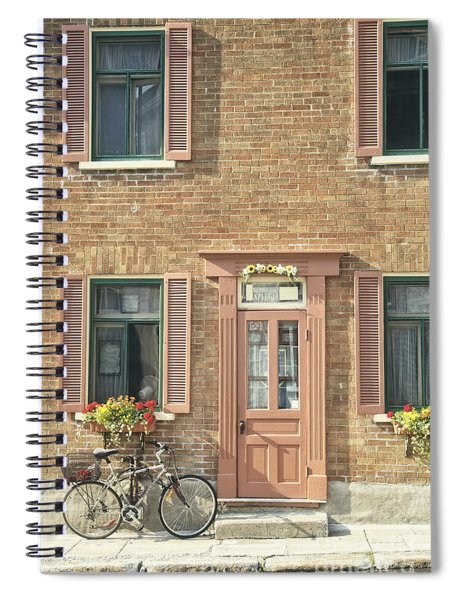 Old Downtown Building Doorway And Bike On Street Spiral Notebook