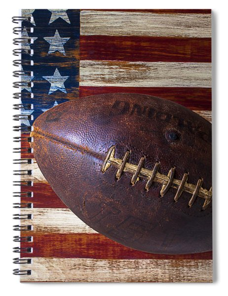 Old Football On American Flag Spiral Notebook