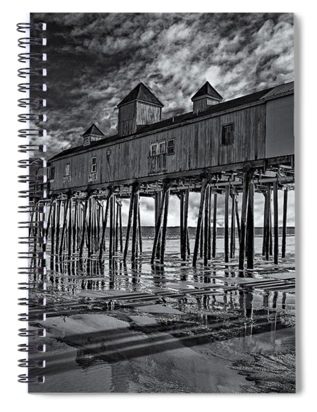 Old Orchard Beach Pier Bw Spiral Notebook