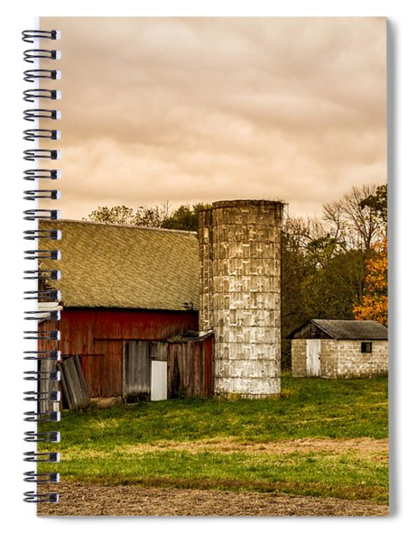 Old Red Barn And Silo Spiral Notebook