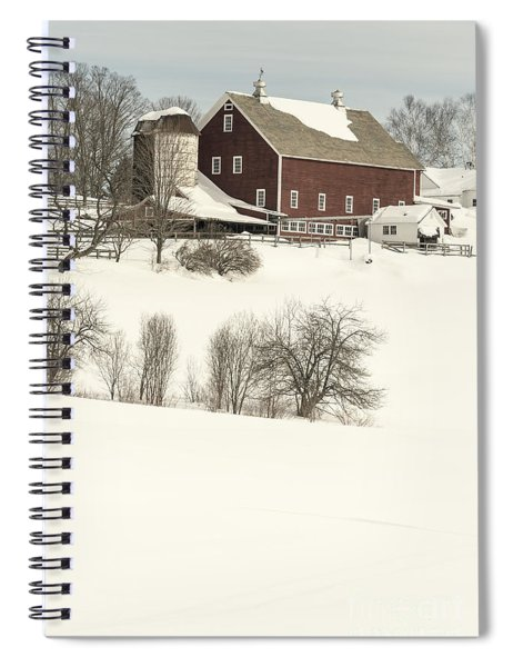 Old Red New England Barn In Winter Spiral Notebook