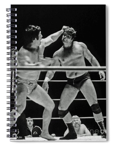 Old School Wrestlers Dean Ho And Don Muraco Battling It Out In The Middle Of The Ring Spiral Notebook