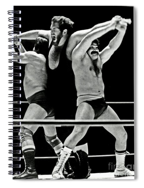 Old School Wrestlers Making A Wish Spiral Notebook