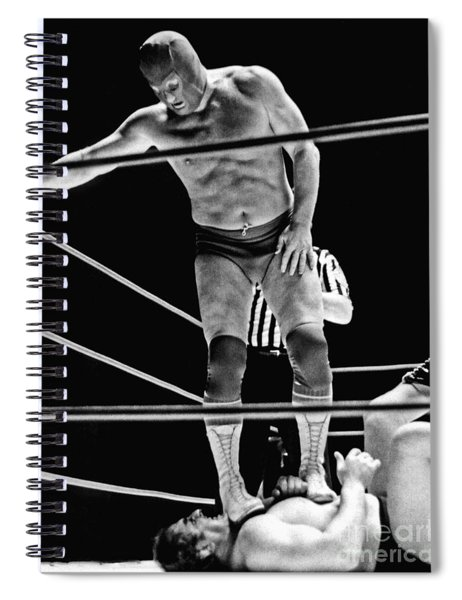 Old School Wrestling With Texas Red Aka Red Bastien   Spiral Notebook