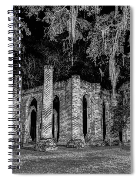Old Sheldon Church At Night Spiral Notebook