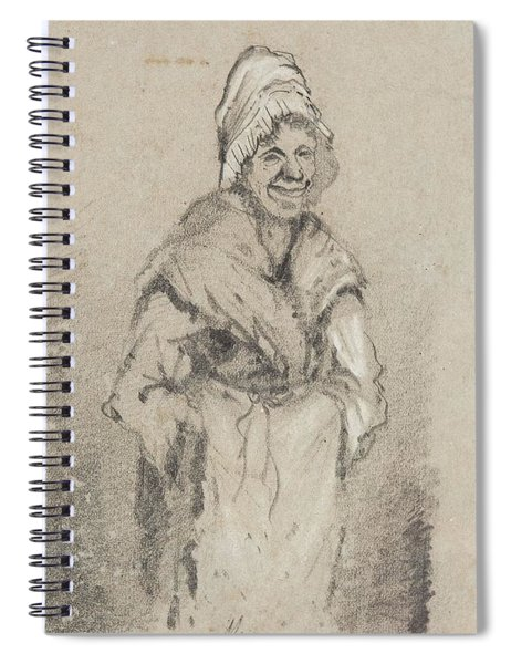 Old Woman From Normandy Full Face Pencil On Paper Spiral Notebook