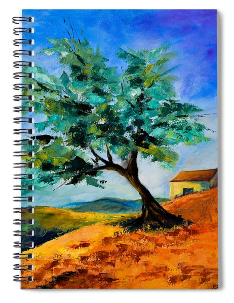 Olive Tree On The Hill Spiral Notebook