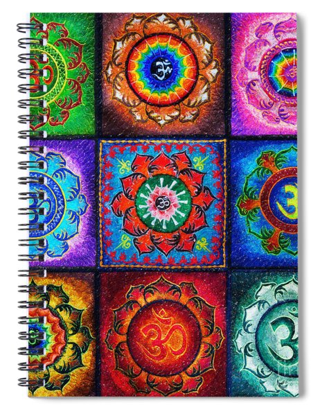 Spiral Notebook featuring the digital art Om Squared by Tim Gainey