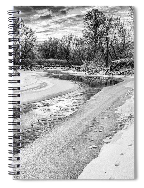 Spiral Notebook featuring the photograph On The Riverbank Bw by Garvin Hunter