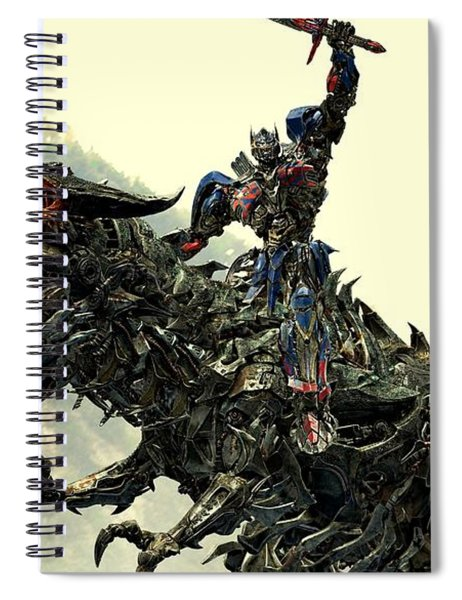 Spiral Notebook featuring the digital art Optimus Prime Riding Grimlock by Movie Poster Prints