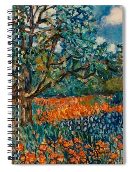 Orange And Blue Flower Field Spiral Notebook