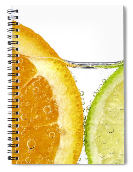 Orange And Lime Slices In Water Spiral Notebook