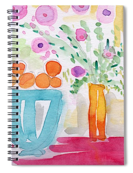 Oranges In Blue Bowl- Watercolor Painting Spiral Notebook