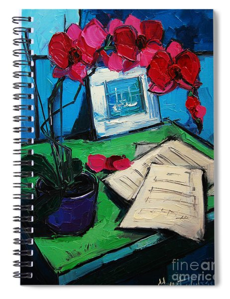 Orchid And Piano Sheets Spiral Notebook