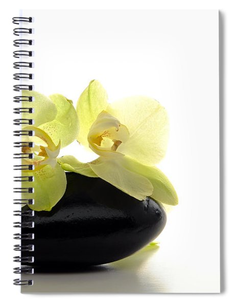 Orchid Flowers On Polished Stone Spiral Notebook by Olivier Le Queinec