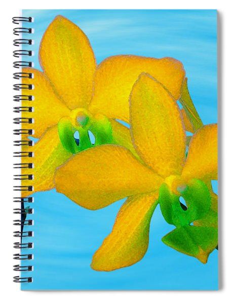 Orchid In Yellow Spiral Notebook