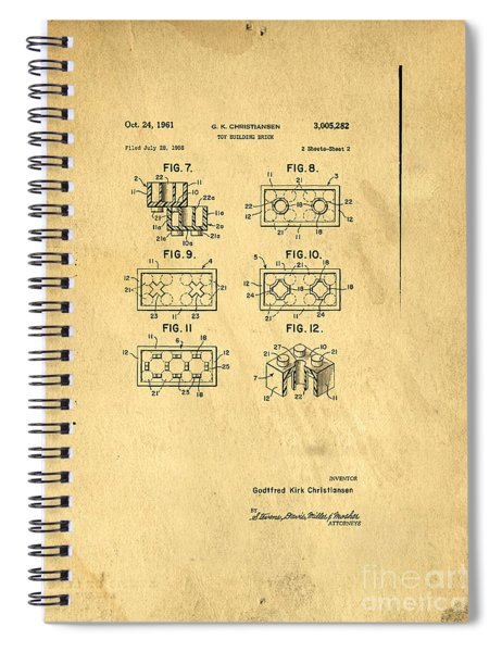 Original Patent For Lego Toy Building Brick Spiral Notebook