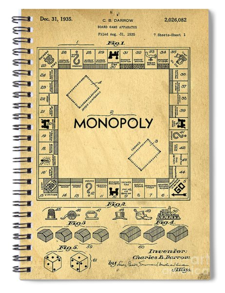Spiral Notebook featuring the digital art Original Patent For Monopoly Board Game by Edward Fielding