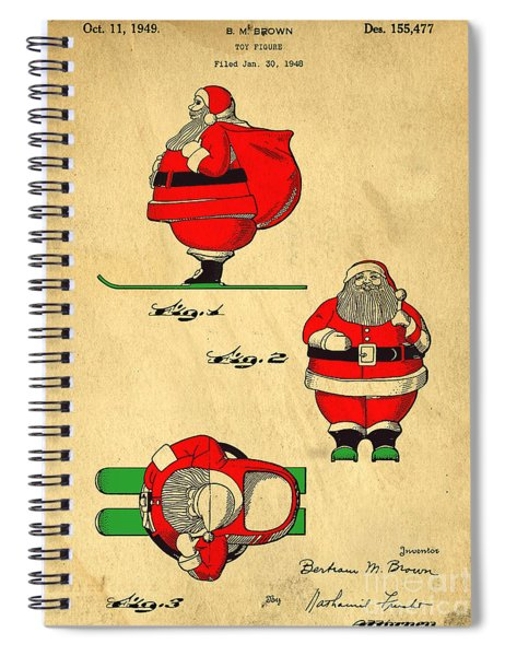 Spiral Notebook featuring the digital art Original Patent For Santa On Skis Figure by Edward Fielding