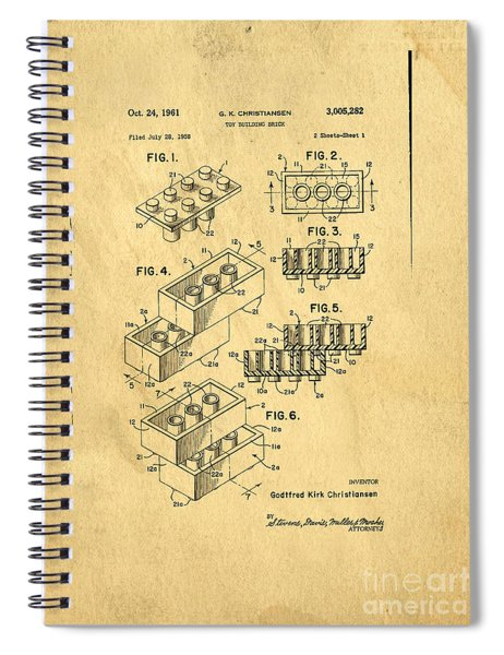 Spiral Notebook featuring the digital art Original Us Patent For Lego by Edward Fielding