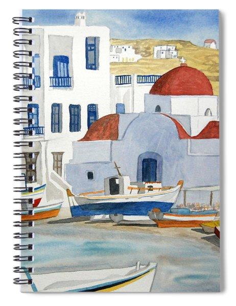 Watercolor - Mykonos Greece Detail Spiral Notebook