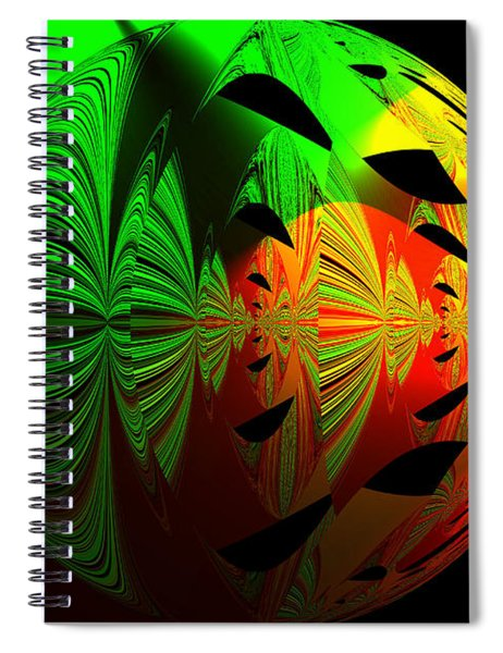 Art. Unigue Design.  Abstract Green Red And Black Spiral Notebook