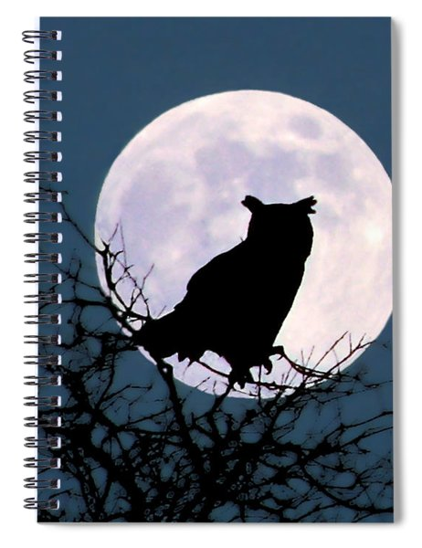Owl And Blue Moon Spiral Notebook
