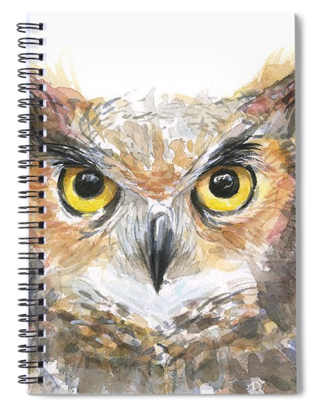 Owl Watercolor Portrait Great Horned Spiral Notebook