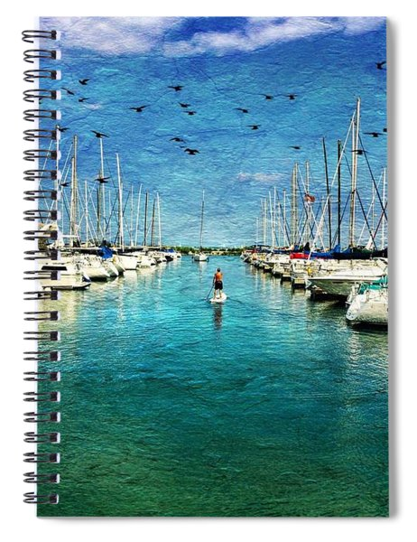 Paddle Boarder  In The Harbor Spiral Notebook