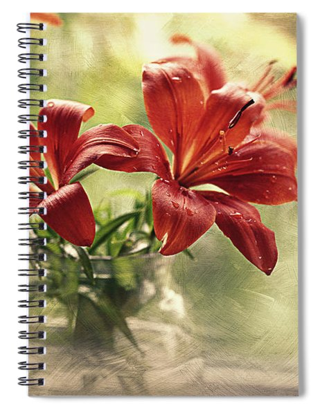 Painting Daylilies On My Window Spiral Notebook