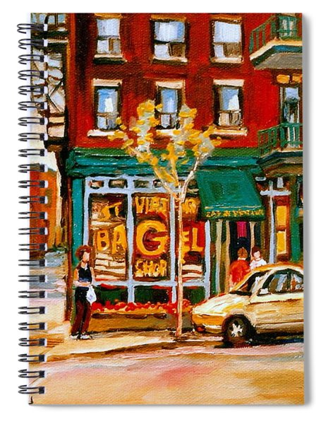 Paintings Of  Famous Montreal Places St. Viateur Bagel City Scene Spiral Notebook