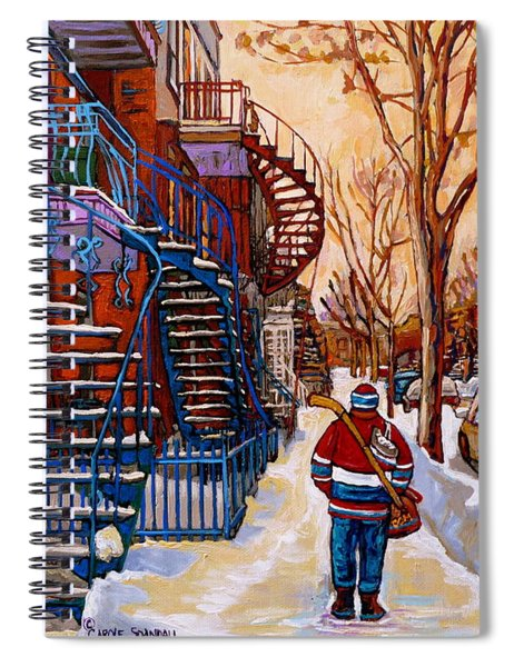 Paintings Of Montreal Beautiful Staircases In Winter Walking Home After The Game By Carole Spandau Spiral Notebook