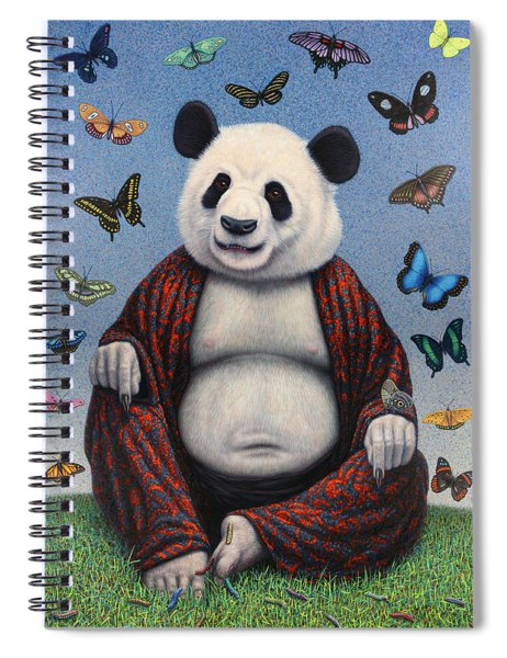 Spiral Notebook featuring the painting Panda Buddha by James W Johnson