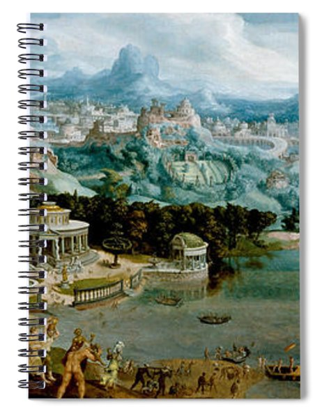 Panorama With The Abduction Of Helen Amidst The Wonders Of The Ancient World Spiral Notebook