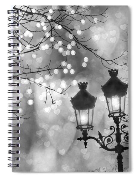 Paris Christmas Sparkle Lights Street Lanterns - Paris Holiday Street Lamps Black And White Lights Spiral Notebook