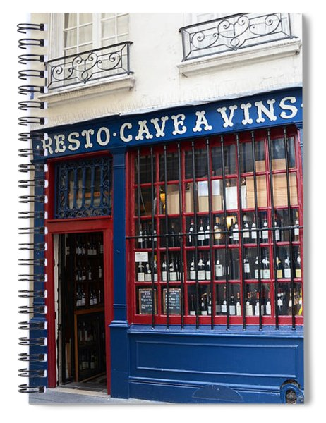 Paris Wine Shop Resto Cave A Vins - Paris Street Architecture Photography Spiral Notebook