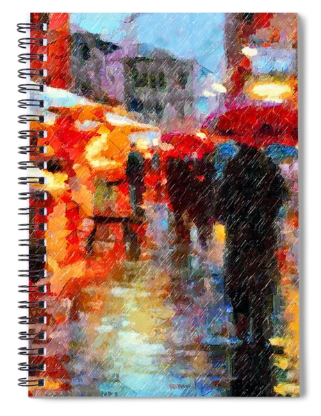 Parisian Rain Walk Abstract Realism Spiral Notebook
