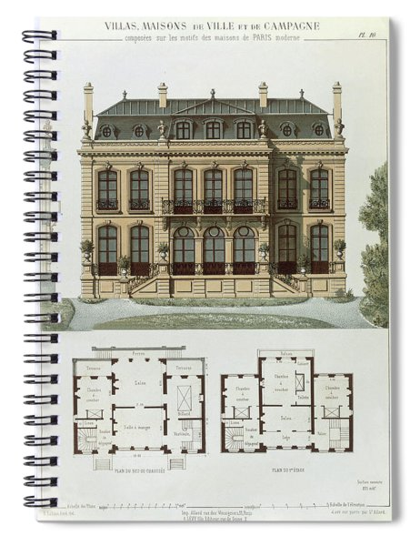 Parisian Suburban House And Plans Spiral Notebook