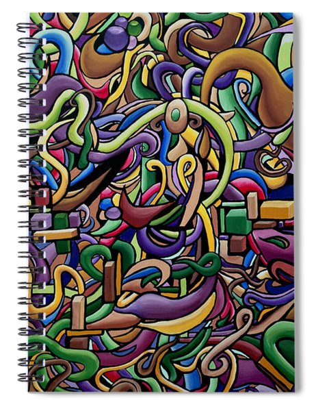 Colorful Abstract Illusion Artwork Painting, Cosmic Energy Flow Art, Music Frequency Spiral Notebook