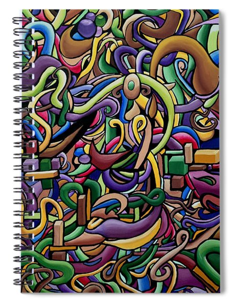 Colorful Abstract Art Painting, 3d Illusion, Cosmic Galaxy, Energy, Music Vibration Frequency Spiral Notebook