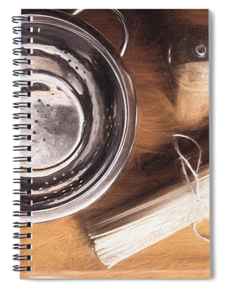 Pasta Preparation. Vintage Photo Sketch Spiral Notebook