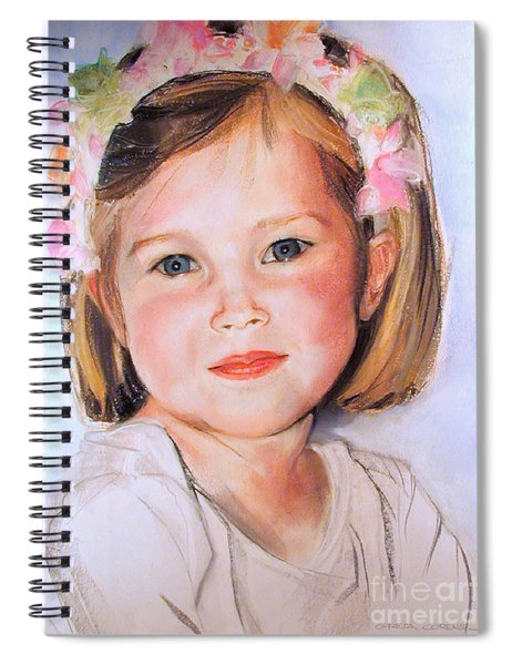 Pastel Portrait Of Girl With Flowers In Her Hair Spiral Notebook