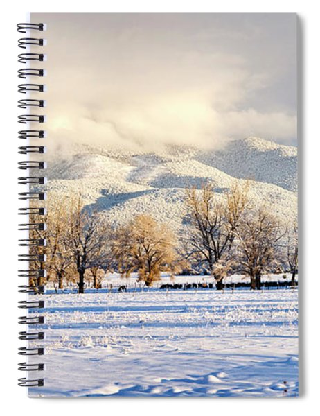 Pasture Land Covered In Snow With Taos Spiral Notebook