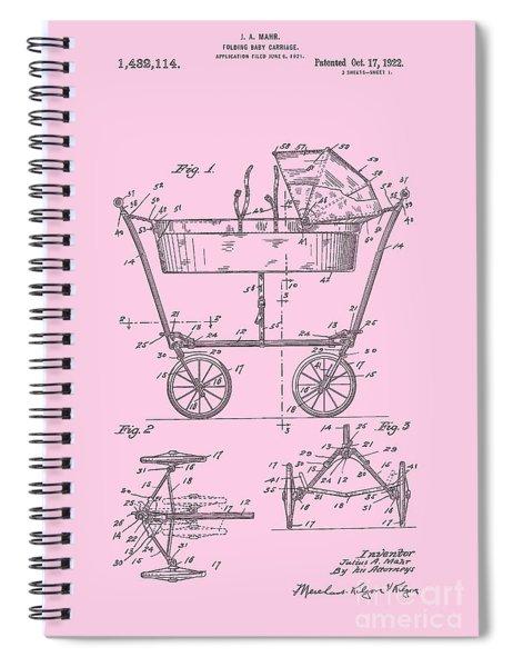 Patent Art Baby Carriage 1922 Mahr Design Pink Spiral Notebook