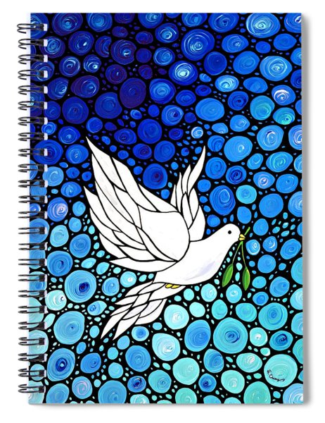 Peaceful Journey - White Dove Peace Art Spiral Notebook
